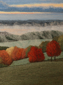 Detail of Autumn Morning landscape by textile artist Tracey Lawko