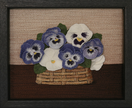 Basket of Pansies by textile artist Tracey Lawko