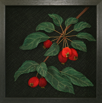 Crabapple Branch by textile artist Tracey Lawko