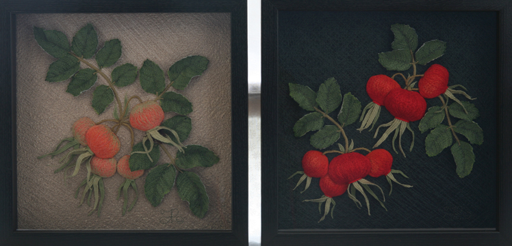 Early and Mature Rosehips by textile artist Tracey Lawko