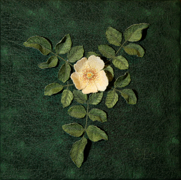 Golden Wings Rose by textile artist Tracey Lawko