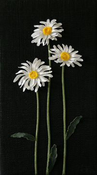 Shasta Daisies by textile artist Tracey Lawko