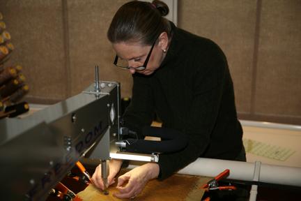 Textile Artist Tracey Lawko in her studio