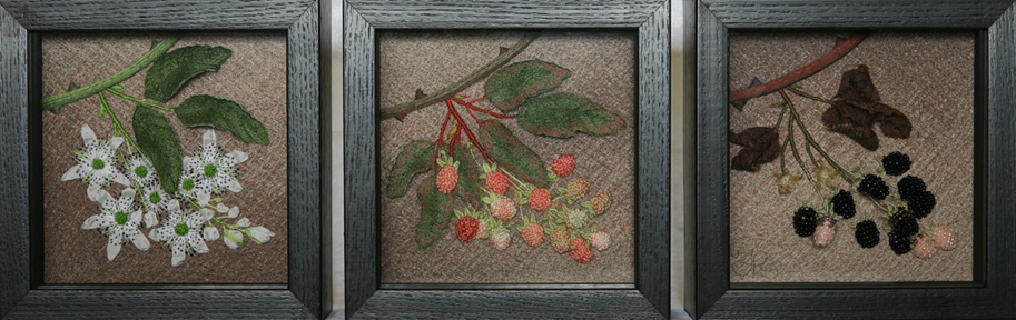 Wild Blackberry in June, July, and August by textile artist Tracey Lawko