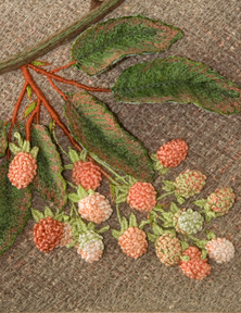 Wild Blackberry in July detail by textile artist Tracey Lawko