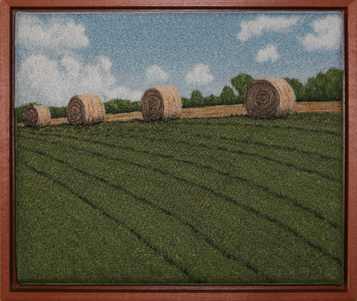 Hay Bales Study by textile artist Tracey Lawko